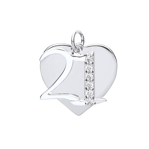 Silver cz 21 & heart pendant with chain- BU9088
