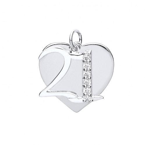Silver cz 21 & heart pendant with chain- BU9088