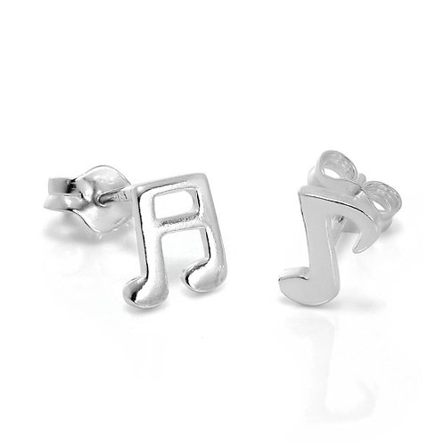 Silver Musical Note Stud Earrings - A2027