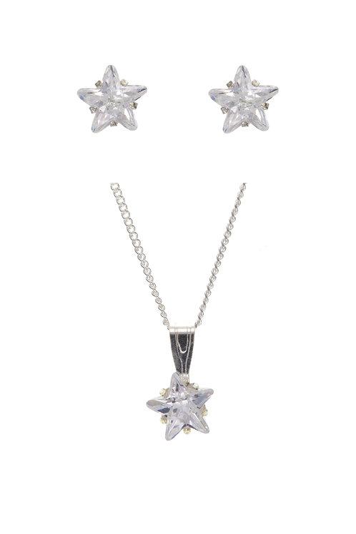 Silver Star Shaped Pendant & Stud Set - ID-SET22