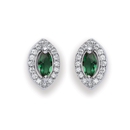 Silver Green Marquise Shaped Stud Earrings - P3691ES-3