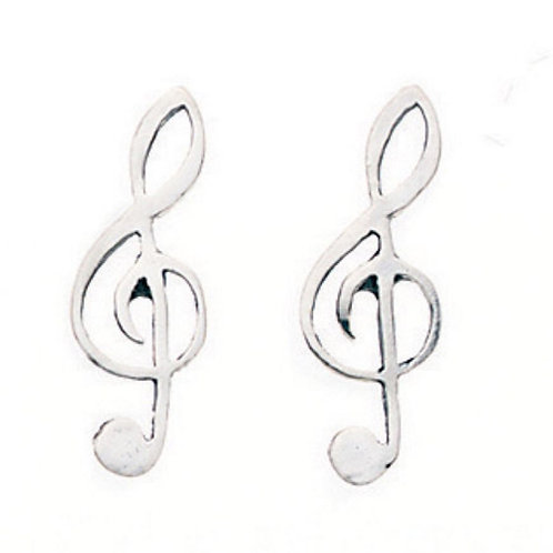 Silver Treble Clef Earrings - A159