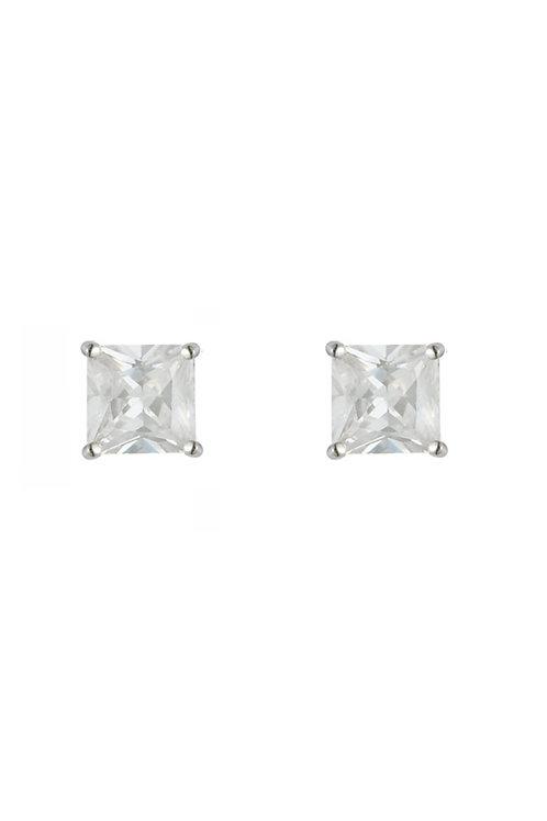 Silver White CZ Square Stud Earrings - SE1111WCZ