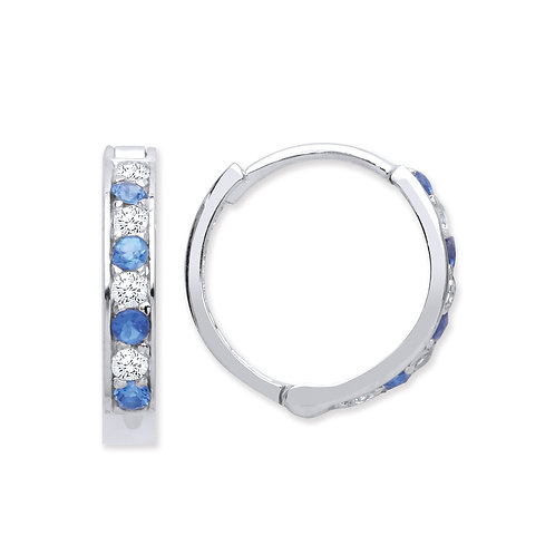 Silver Sapphire and White CZ Hoop Earrings - P3801ES-1