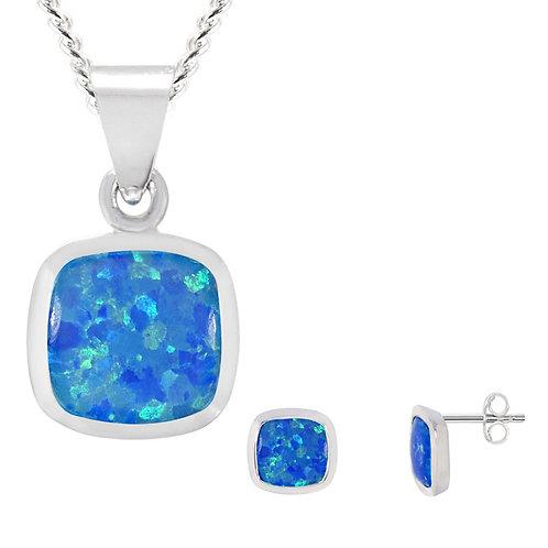 Silver Blue Opal Pendant and Earrings Set - SP2656BCOP-SE2655BCOP-SET
