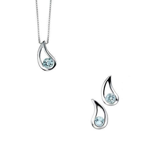 Silver Blue Topaz Pendant & Stud Earrings - E3057T-P2621T-SET