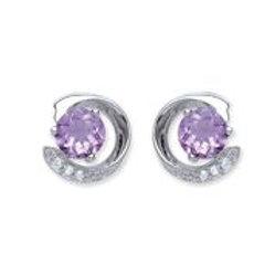 Silver amethyst & cz stud earrings  -NSNCLEDAMCZE