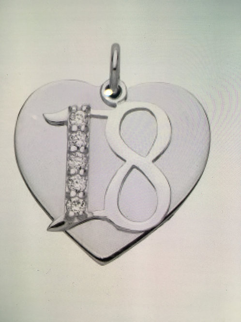 Silver cz 18 & heart pendant with chain-BU9087