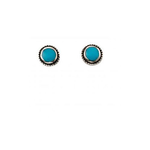 Silver Blue Shell Round Stud Earrings - A2035T