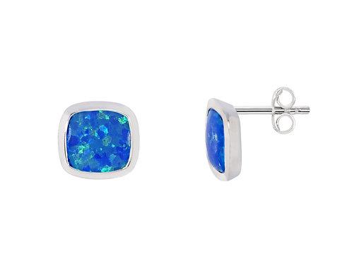 Silver Blue Opal Square Stud Earrings - SE2655BCOP