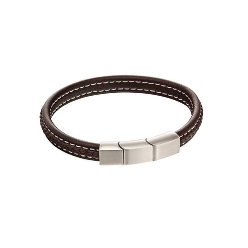 Stainless Steel Brown Leather Bracelet - B5120