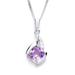 Silver Amethyst and CZ Pendant - P1378P-2