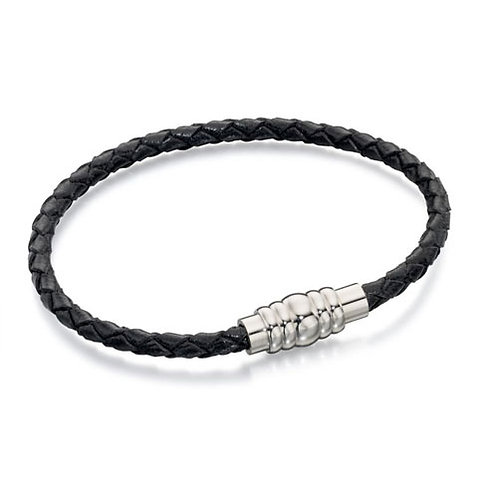 Fred Bennett Stainless Steel Leather Bracelet - B4726