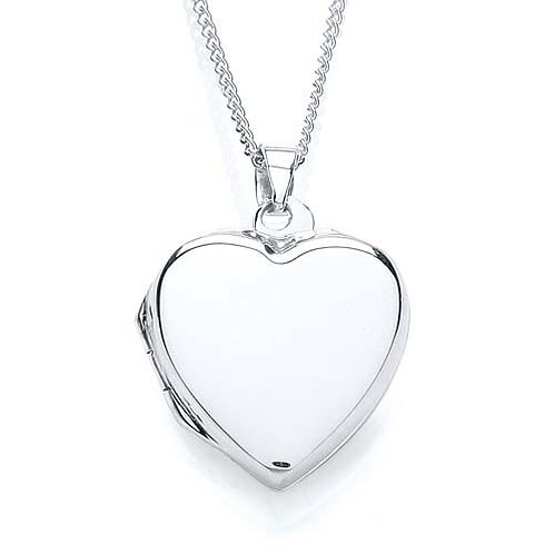 Silver Plain Heart Locket - PUR0875-3