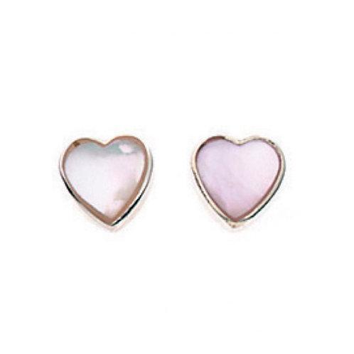 Silver Heart Mother of Pearl Earrings - A778W