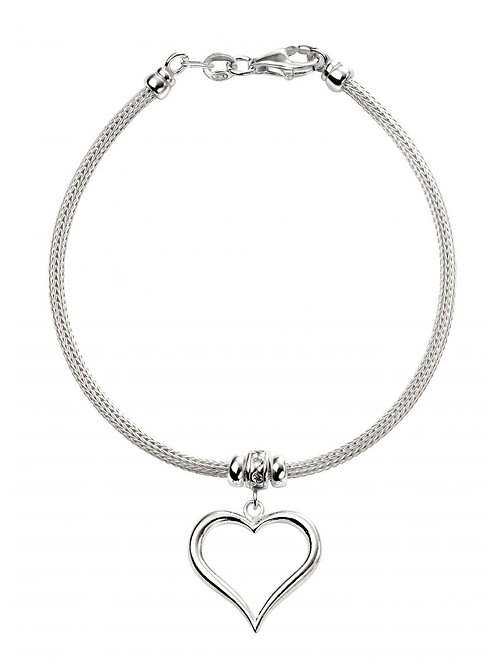 Silver Bracelet with Heart Feature - B4931