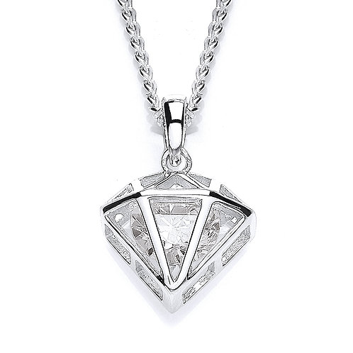 Silver White CZ Diamond Shaped Pendant - PUR3562P
