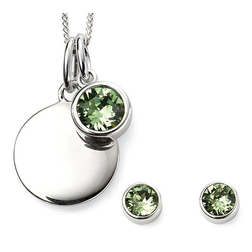 Silver Round Peridot Coloured Cubic Zirconia and Earrings Set - P4568-E5564-SET