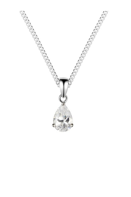 Silver White CZ Pear Shaped Pendant - SP1136WCZ