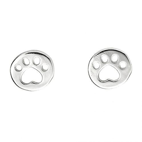 Silver Paw Print Earrings - A2063