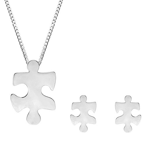 Silver Jigsaw Pendant and Earrings Set - SP2227-SE2226-SET