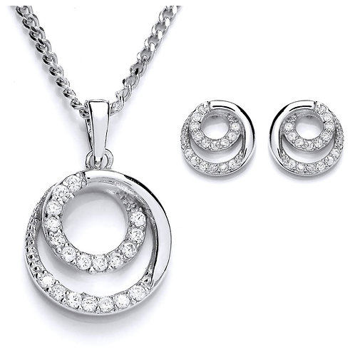 Silver White CZ Circular Pendant and Earrings Set - PUR3696-SET