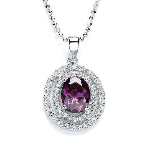 Silver Amethyst and CZ Oval Pendant - P3093P-1