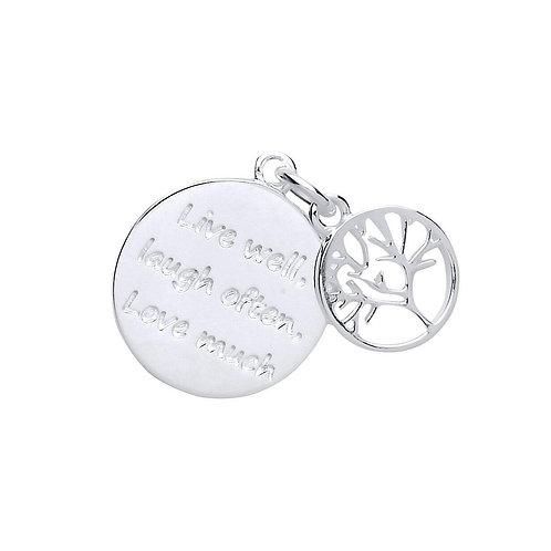 Silver tree of life message pendant & chain- BU9099