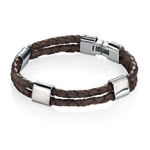 Fred Bennett Brown Leather 23.5 cm Bracelet - B4417