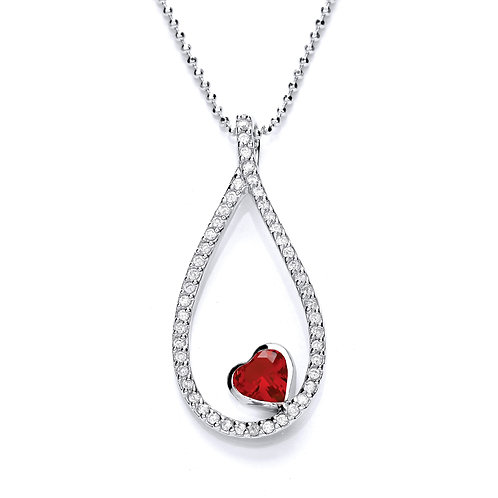 Silver Red Heart Shaped Pendant - P3632P-2