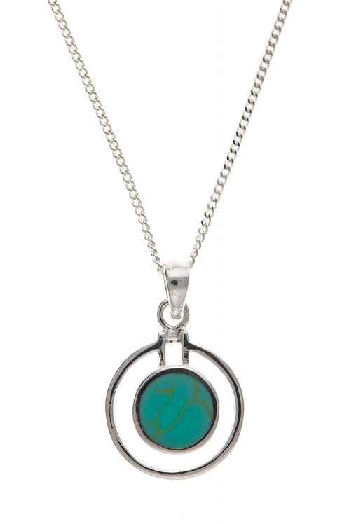 Silver Turquoise pendant with chain- BT4773
