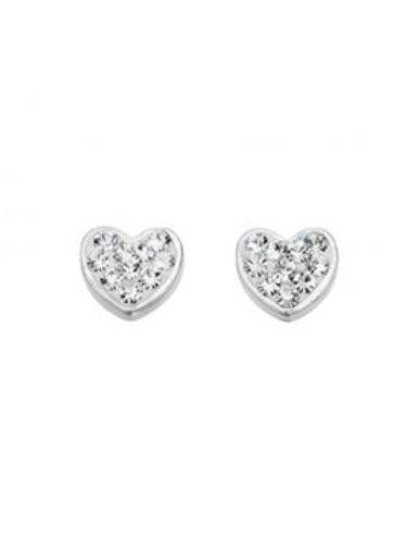 White crystal Silver heart stud earrings- E3937c