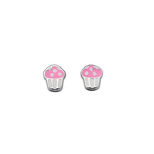 Cupcake Silver Stud Earrings - E4348