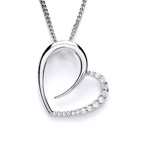Cubic Zirconia Open Heart Pendant - PUR1528P