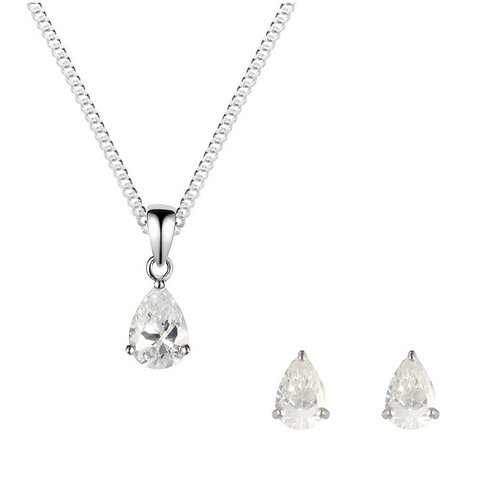 Silver White CZ Pear Shaped Pendant and Earrings Set - SP1136WCZ-SE1105WCZ-SET