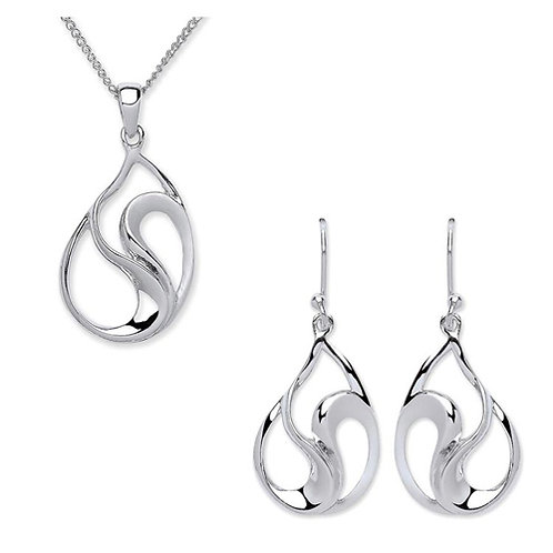 Silver Polished/Matt Earrings and Pendant Set - PUR3670-SET