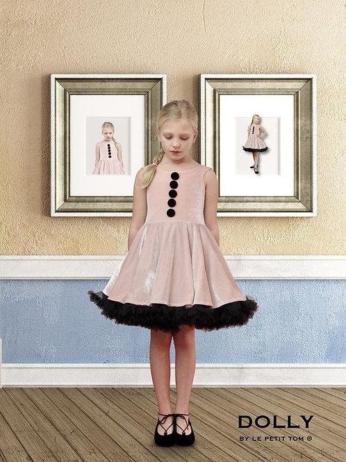 DOLLY by Le Petit Tom ® Knit stretch Velour dress