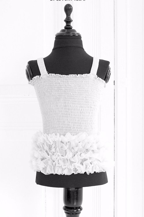 DOLLY by Le Petit Tom ® FRILLY TOP white