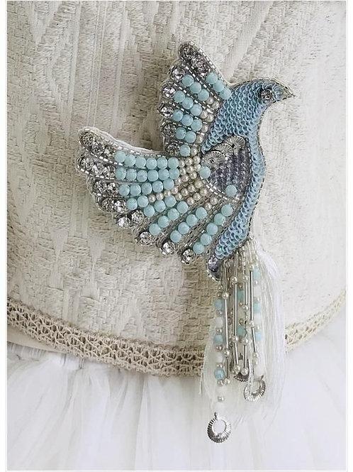 DOLLY by Le Petit Tom ® BOHO blue bird broach
