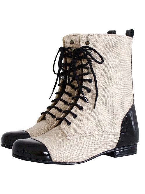DOLLY by Le Petit Tom ® JUTE VICTORIAN BOOTS - Wiktoriańskie Buty - czarne
