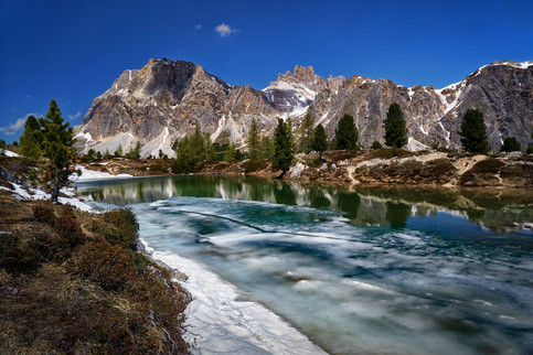 Last Ice at Lago Limides, Dolomites (Italy)