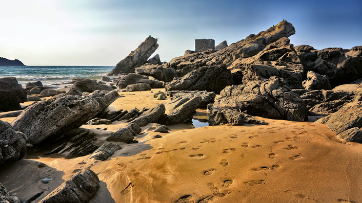 Rock formations at Zarautz Beach (Spain)