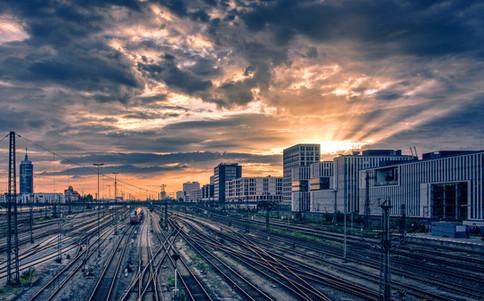 Munich, outbound railway tracks as seen from Hackerbrücke