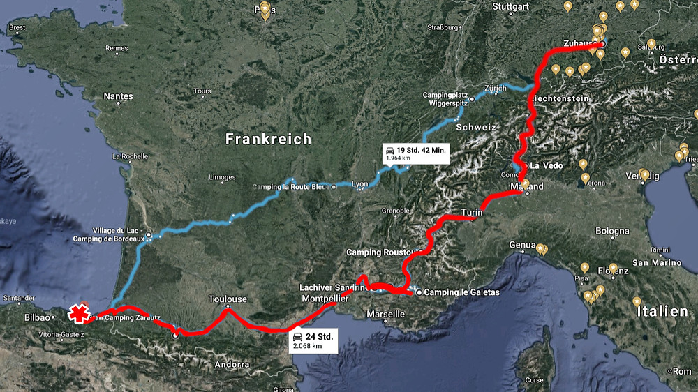 Route from Provence to Gulf of Biscaya