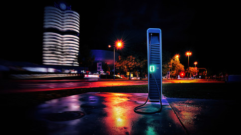 Munich, BMW Tower and charging station