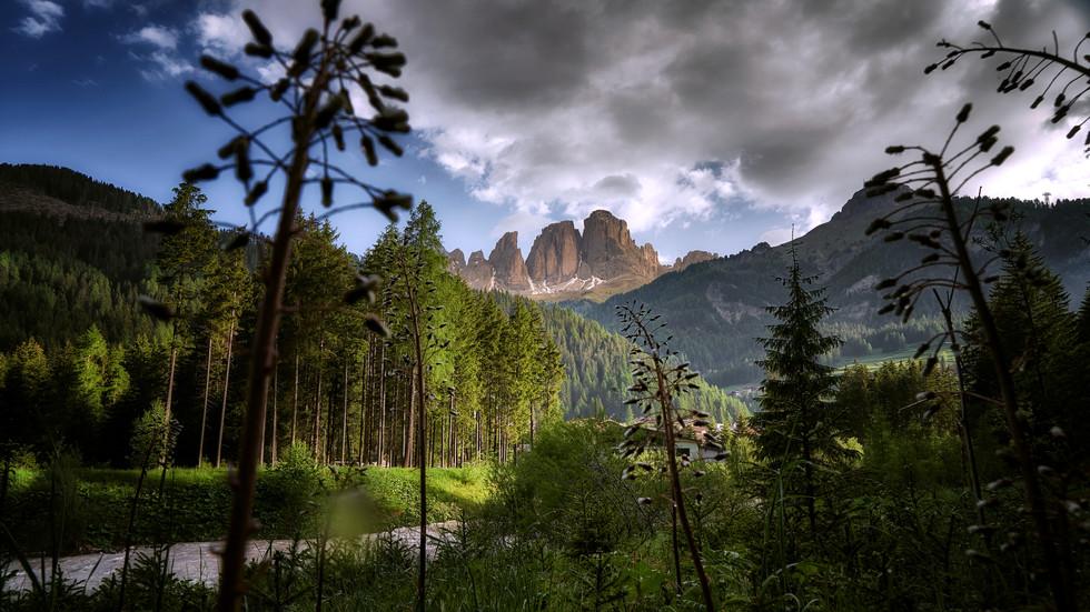 Sassolungo seen from Fassa Valley, Dolomites (Italy)