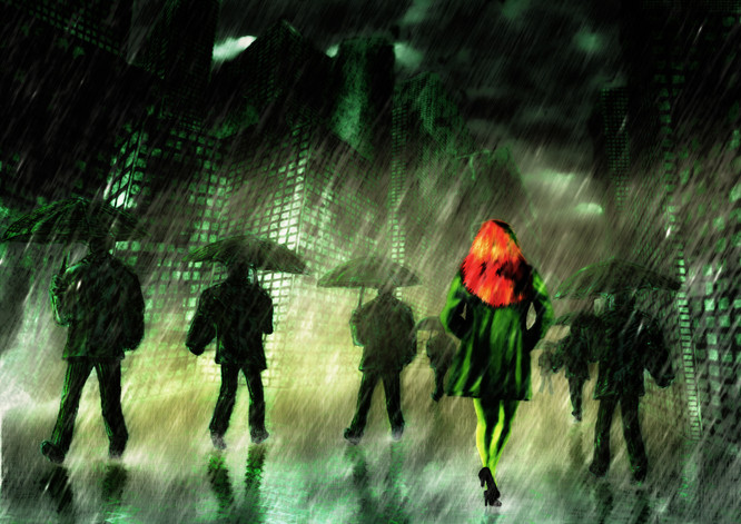 Red Haired Woman in the Rain