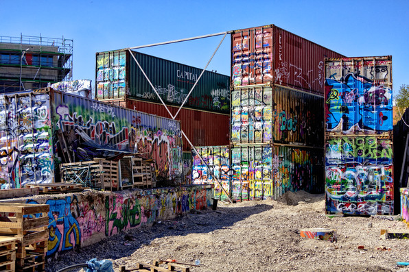 Stacked containers at the ruins of the former Munich South station.