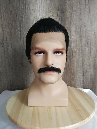 Custom styled Freddie Mercuy wig + mustache