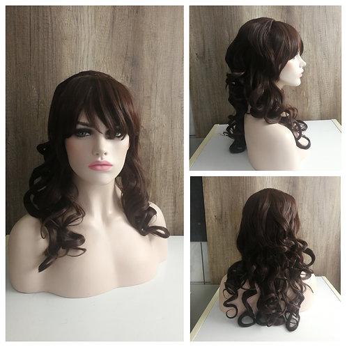 55 cm styled curly dark brown wig